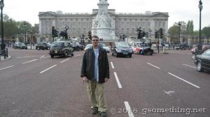 TJ Gsomething stopping traffic in front of queens palace London, UK