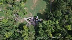 top aerial drone view of Squires Castle