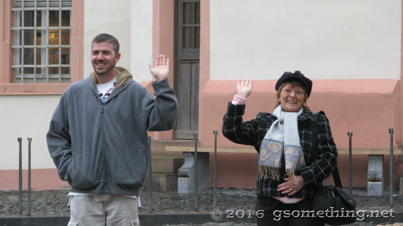 TJ Gsomething and German Tour guide waving